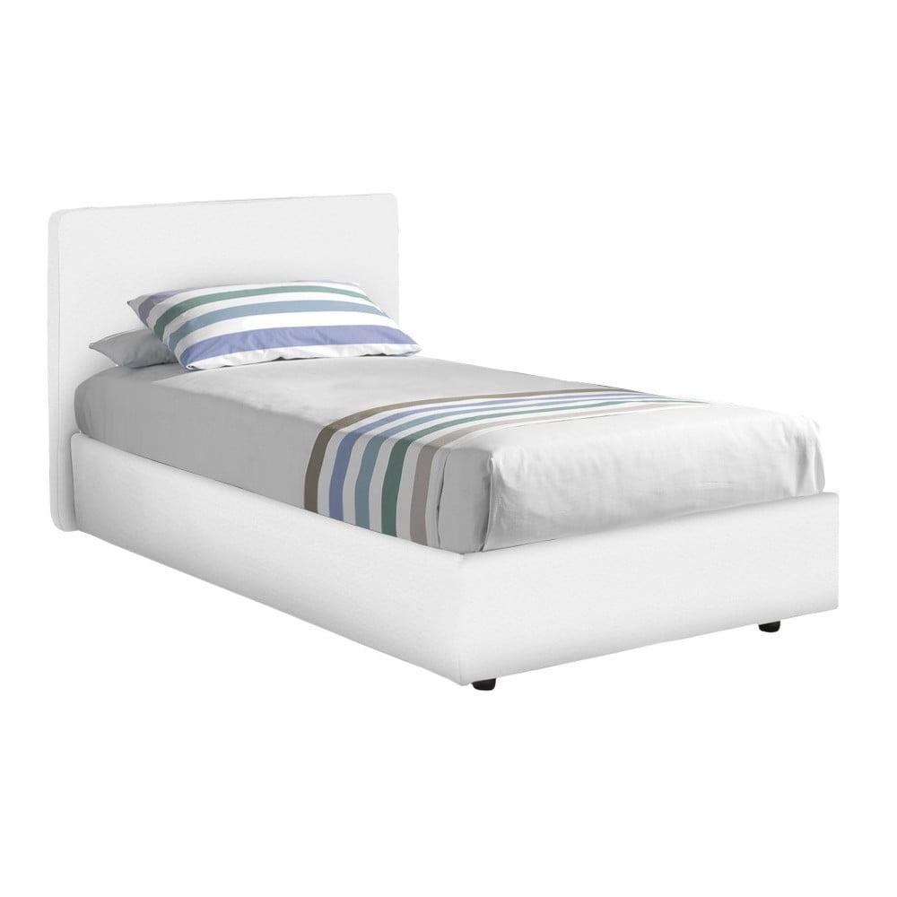 Białe łóżko Jednoosobowe Ze Schowkiem I Materacem 13casa Ninfea 80x190 Cm Bonami
