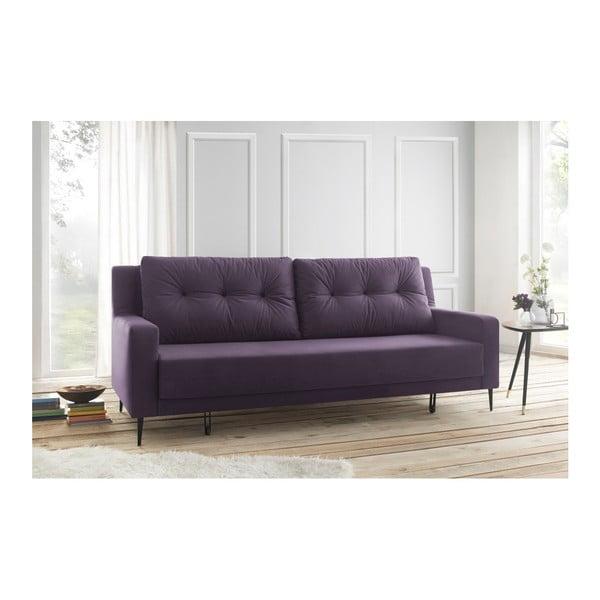 Fioletowa sofa rozkładana Bobochic Paris Bergen