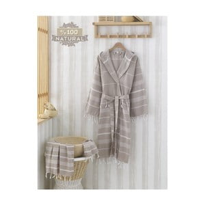 Komplet szlafroka i ręcznika Sultan Brown, rozmiar L/XL