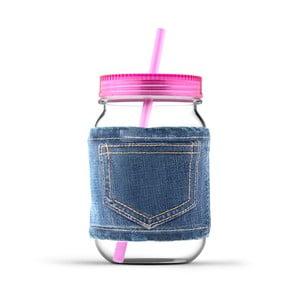 Słoik ze słomką Jeans Pink