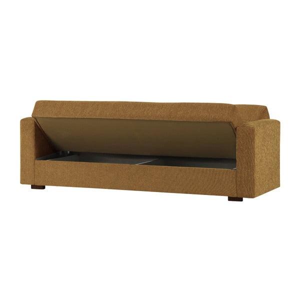 Żółtobrunatna dwuosobowa sofa rozkładana ze schowkiem Esidra Relax