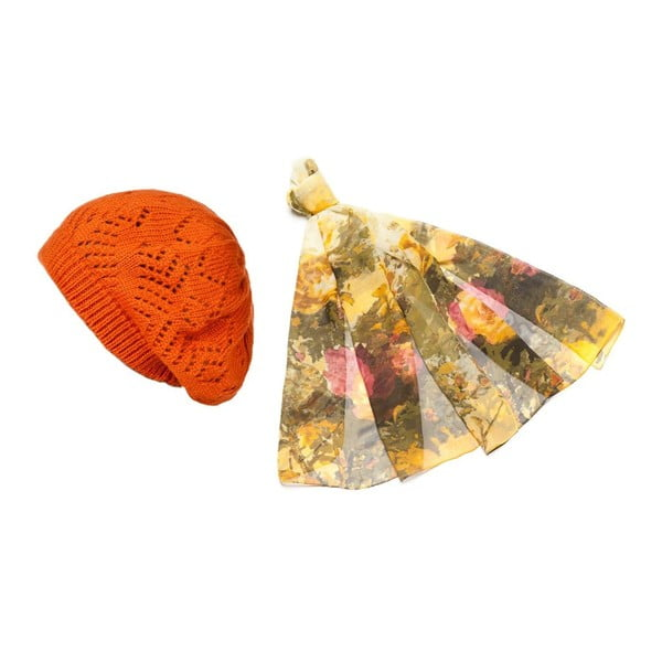 Czapka i chusta Orange and Yellow
