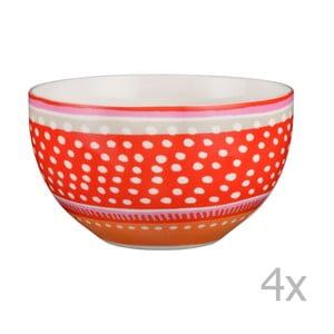 Komplet 4 misek porcelanowych Oilily 15 cm, czerwony