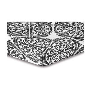 Szaro-białe prześcieradło elastyczne ze wzorem DecoKing Hypnosis Malaga, 220x240 cm