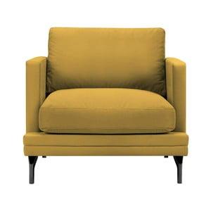 Żółty fotel z czarną konstrukcją Windsor & Co Sofas Jupiter