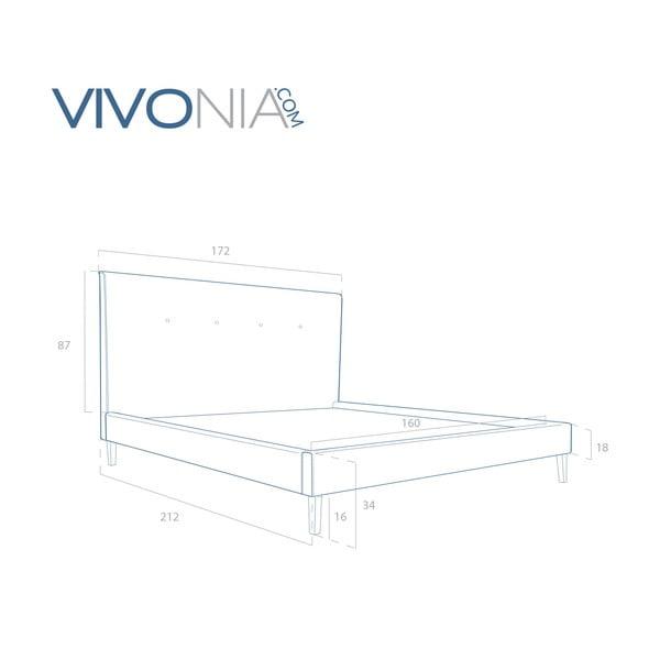 Pastelowo niebieskie łóżko z naturalnymi nóżkami Vivonita Kent, 160x200 cm