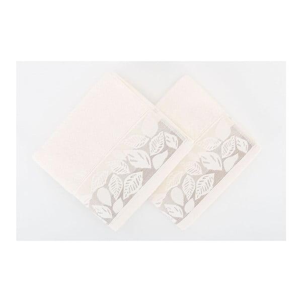 Zestaw 2 ręczników Floras Cream, 50x90 cm