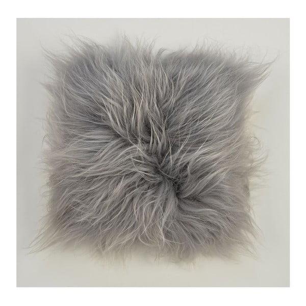 Dwustronna futrzana poduszka z długim włosem Grey, 50x50 cm