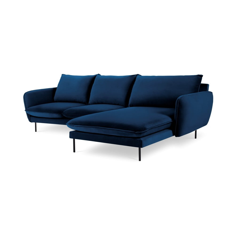 Niebieska narożna aksamitna sofa prawostronna Cosmopolitan Design Vienna