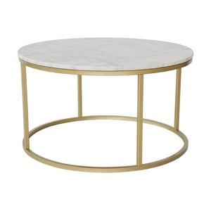 Marmurowy stolik z konstukcją w kolorze mosiądzu RGE Accent, ⌀85cm