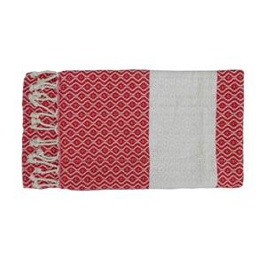 Czerwony ręcznie tkany ręcznik z bawełny premium Oasa,100x180 cm
