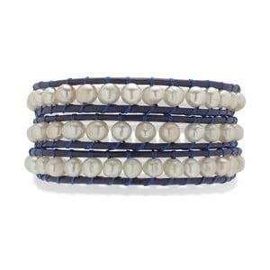 Granatowa bransoletka skórzana z perłami Nova Pearls Copenhagen Néreus