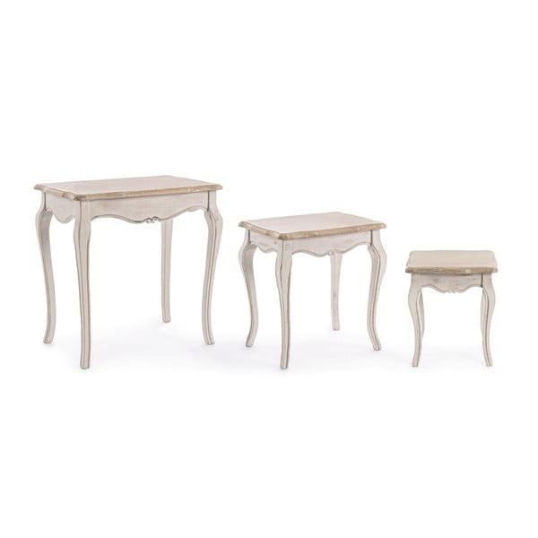 Zestaw 3 stolików z konstrukcją z drewna paulowni Bizzotto Whiteness