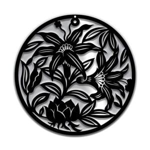 Czarna dekoracja ścienna Dekorjinal Pouff Flowers, ⌀48cm