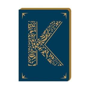 Notatnik w linie A6 z monogramem Portico Designs K, 160 stron