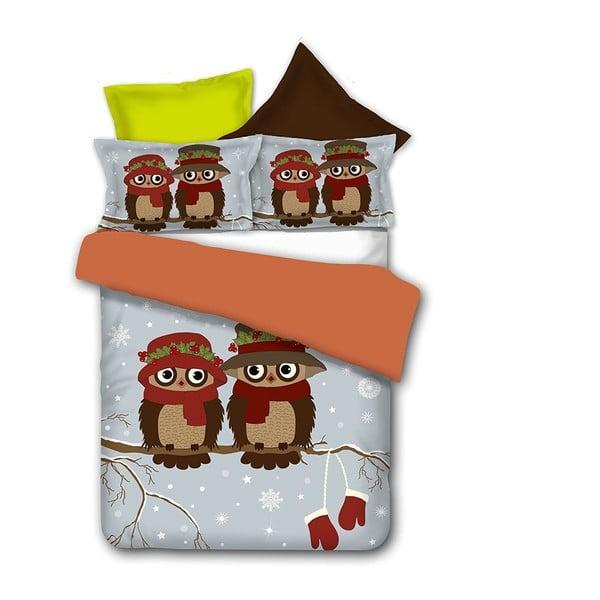 Pościel z mikrowłókna DecoKing Owls Winterstory, 200x220cm
