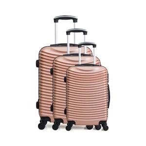 Zestaw 3 walizek na kółkach w kolorze różowego złota Hero Jasmine