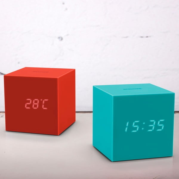 Turkusowy budzik LED Gingko Gravitry Cube