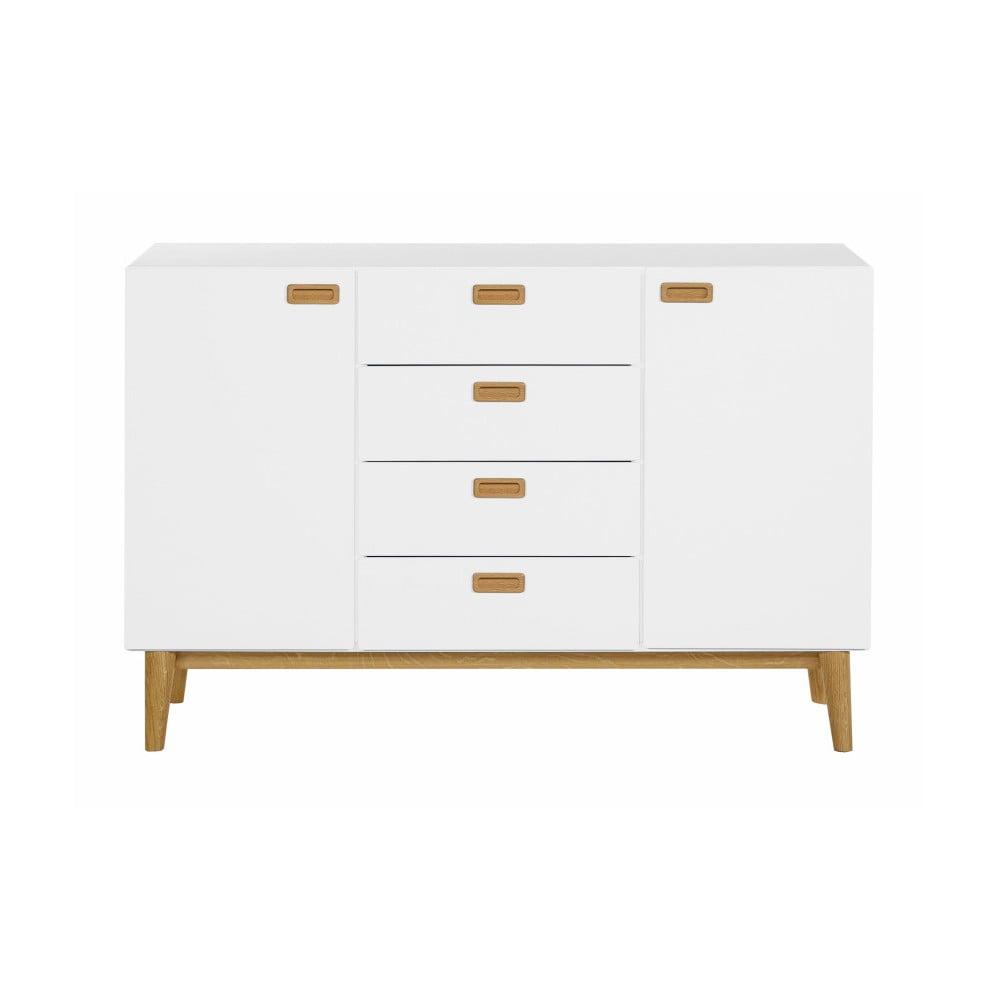 Biała szafka z detalami z drewna dębowego i z 4 szufladami We47 Eelis Kulliki