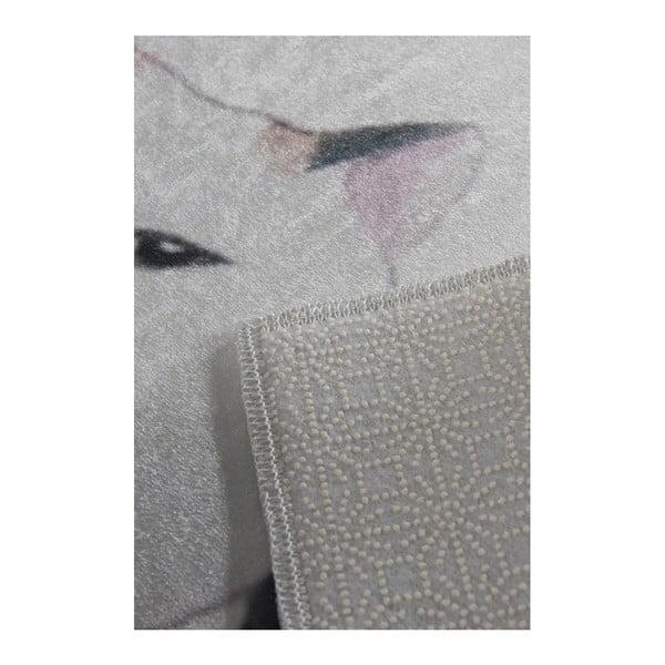 Biało-szary dywanik łazienkowy Lismo Cats, 60x40 cm