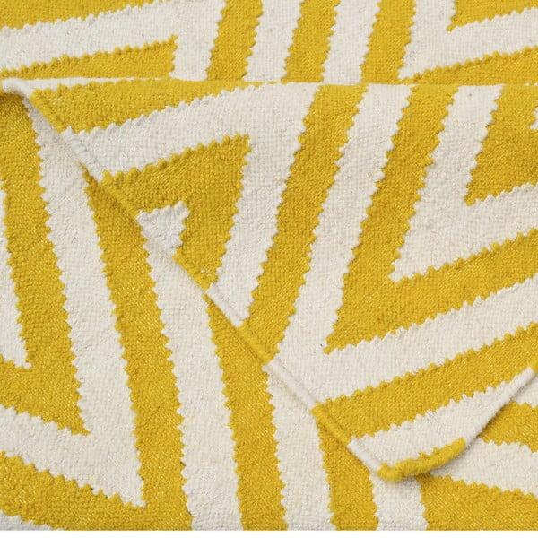Dywan wełniany Zig Zag Yellow, 240x155 cm
