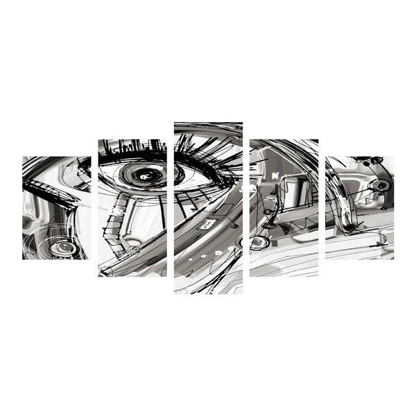 Wieloczęściowy obraz Black&White Eye, 100x50 cm
