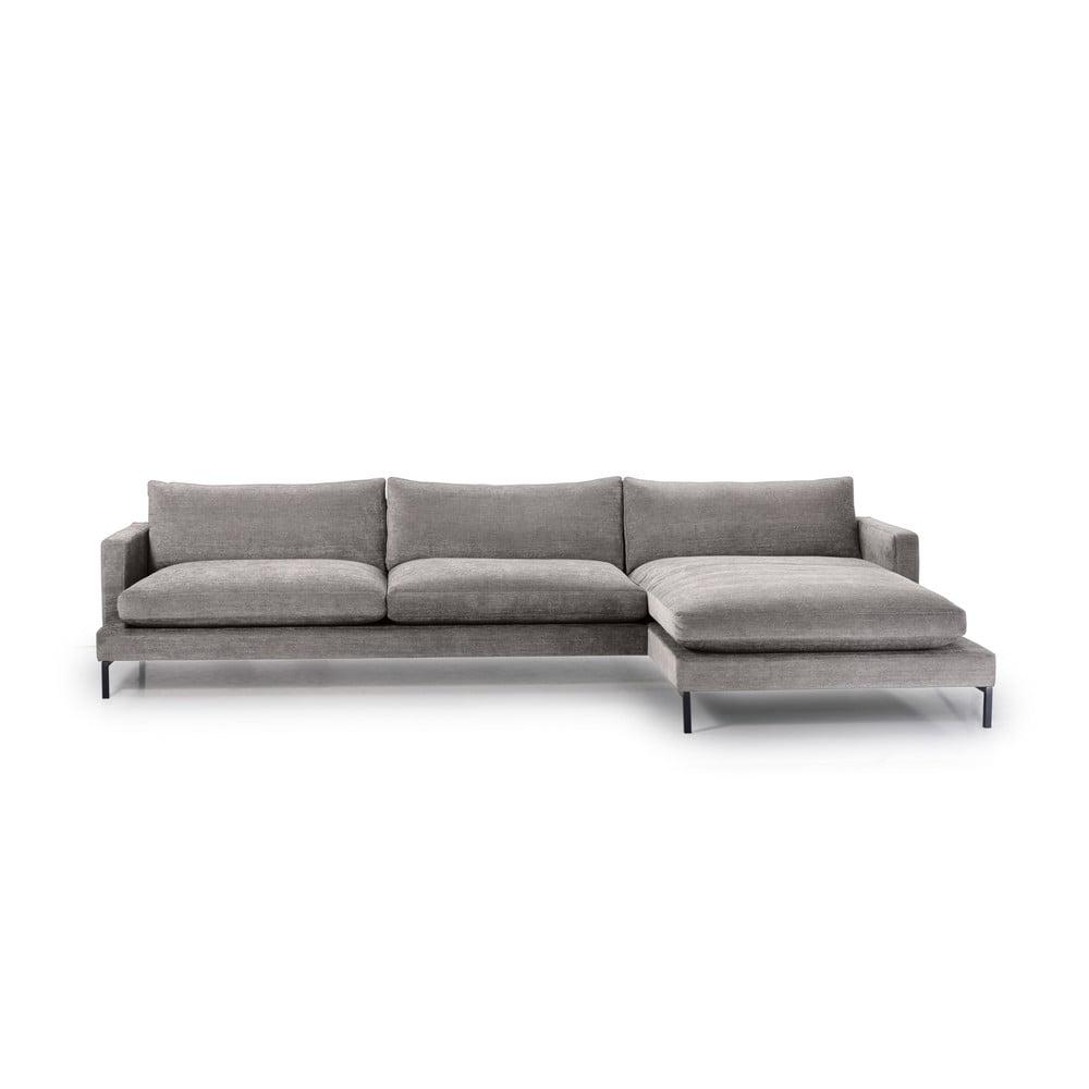 Szara 3-osobowa sofa z prawostronnym szezlongiem Scandic Leken