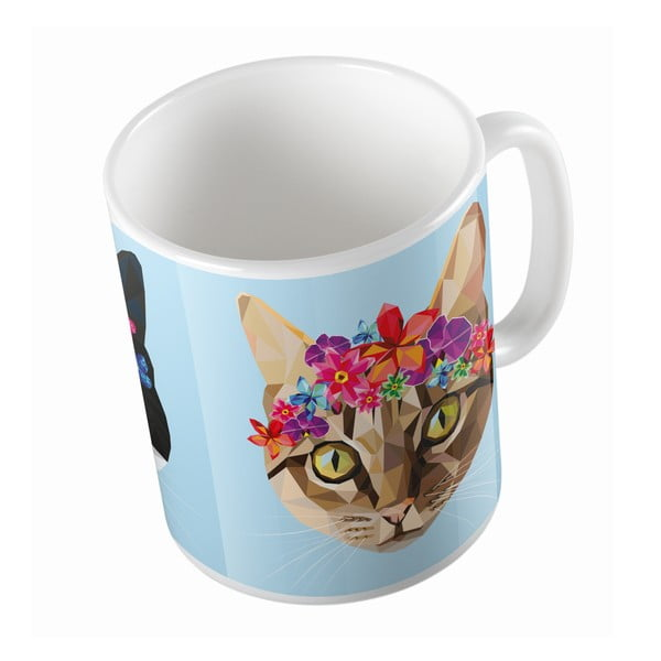 Ceramiczny kubek Butter Kings Cat With Flowers, 330 ml