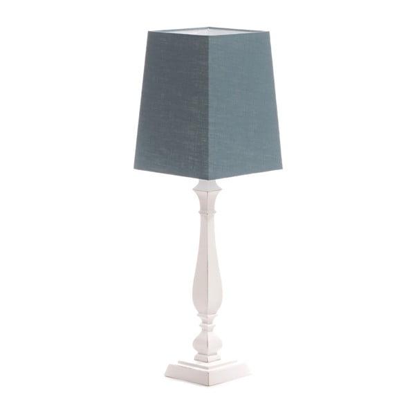 Niebieska lampa stołowa Tower, biała lakierowana brzoza, 20 x 20 cm