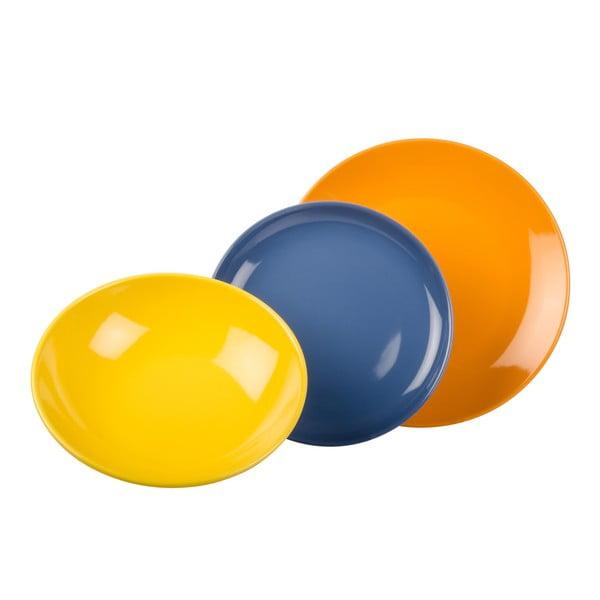 18-częściowy komplet talerzy Kaleidos, pomarańczowo-niebiesko-żółty