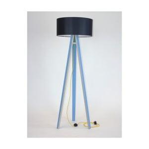Niebieska lampa stojąca z czarnym abażurem i żółtym kablem Ragaba Wanda