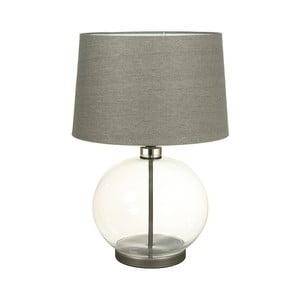 Szara lampa stołowa z kryształową podstawą Santiago Pons