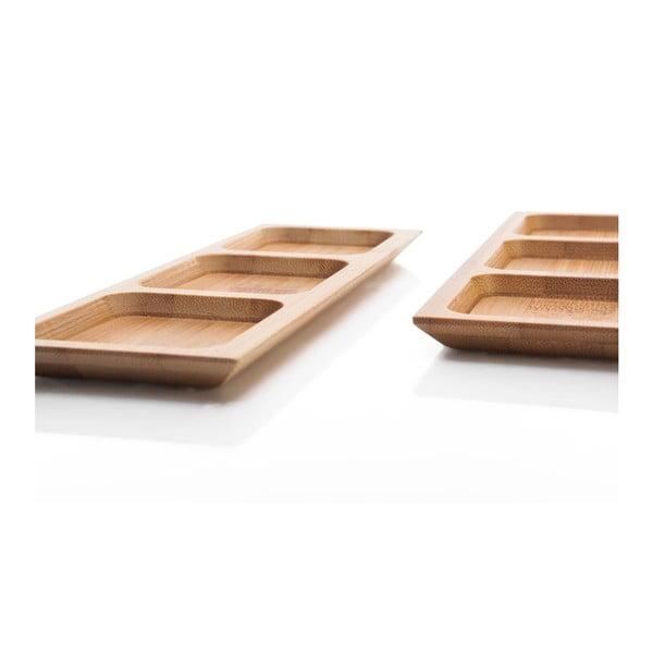 Zestaw 2 półmisków bambusowych do serwowania przekąsek Bambum Almeria, 18 cm