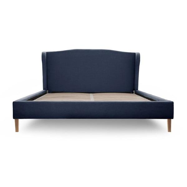 Granatowe łóżko z naturalnymi nóżkami Vivonita Windsor, 180x200 cm