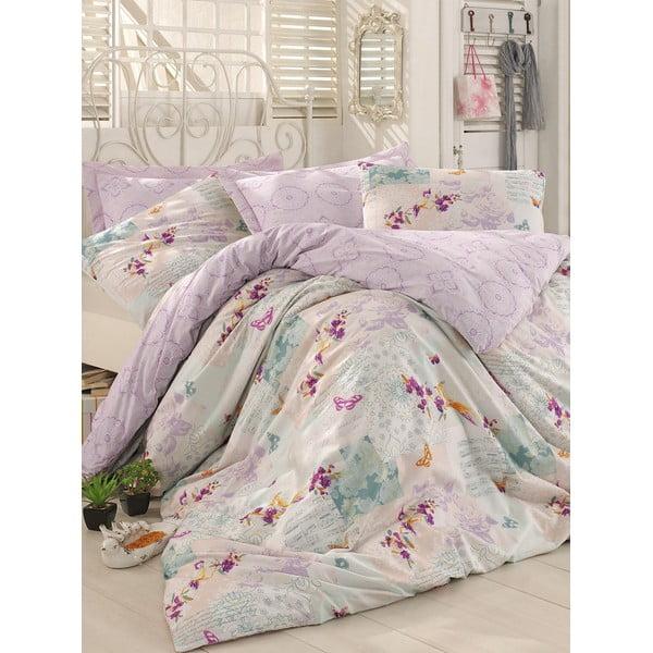 Fioletowa pościel z prześcieradłem na łóżko jednoosobowe Love Colors Molly, 160 x 220 cm