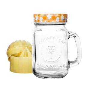 Szklanka z żółtą zakrętką i wyciskarką do cytrusów Mezzo Detox, 300 ml