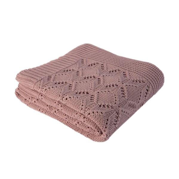 Różowy koc bawełniany Homemania Cotton, 170x130 cm