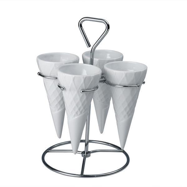 Komplet 4 porcelanowych wafli ze stojakiem