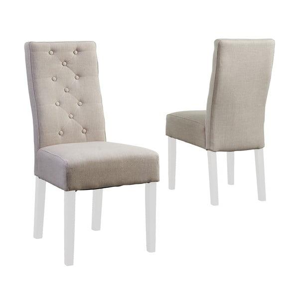 Beżowe krzesło z białymi nogami Canett Tango