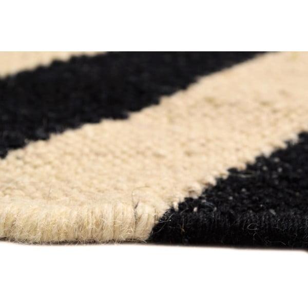 Ręcznie tkany dywan Black and White Zigzag Kilim, 160x250 cm