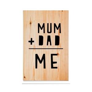 Drewniana tabliczka Mum+Dad = Me Natural