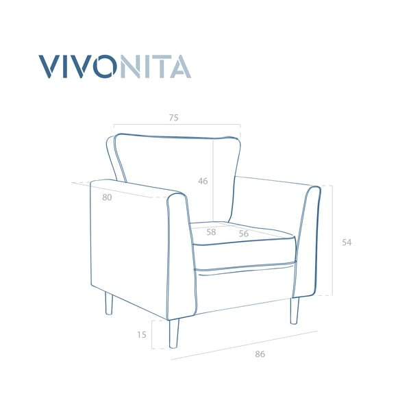 Jasnobeżowy fotel Vivonita Portobello