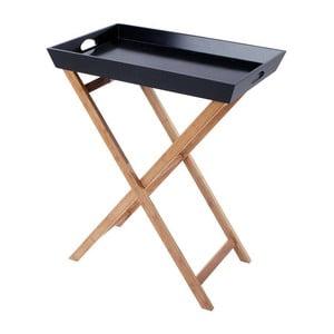 Drewniany stolik z tacą Black/Natural, 60x40x74 cm