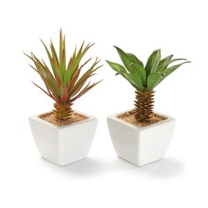 Zestaw 2 sztucznych kwiatków w ceramicznej doniczce Pots