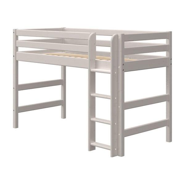 Szare dziecięce łóżko z drewna sosnowego Flexa Classic, wys. 143 cm