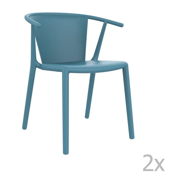 Zestaw 2 niebieskich krzeseł ogrodowych Resol steely