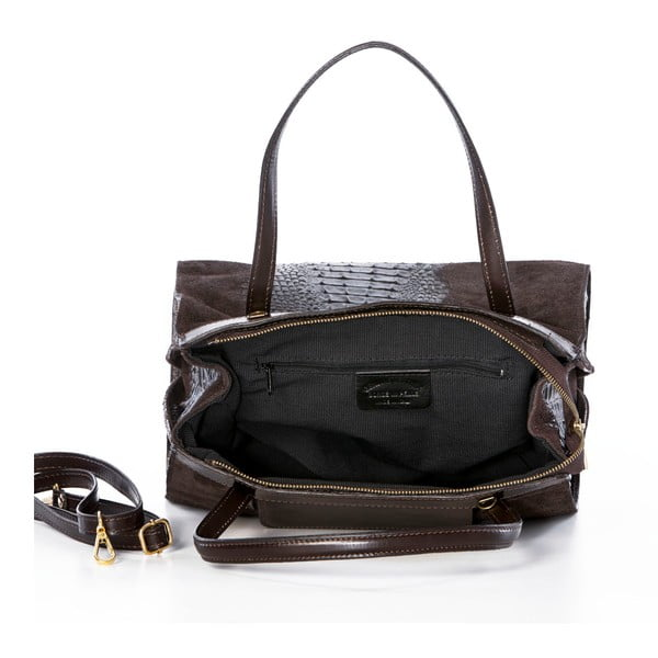 Skórzana torebka Croco Dark Brown