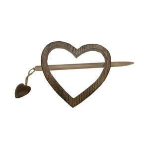 Dekoracja na zasłonę Antic Line Heart Wooden