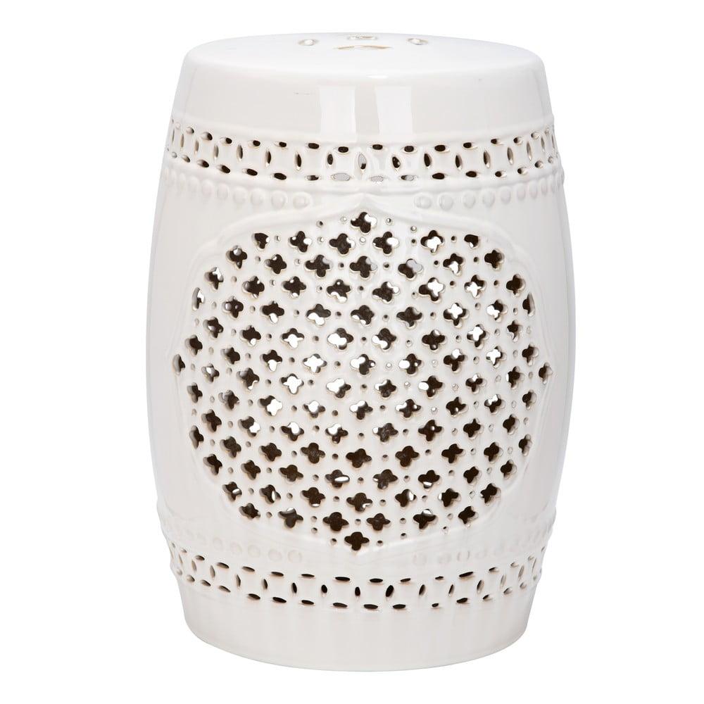 Kremowy stolik ceramiczny odpowiedni na zewnątrz Safavieh Marbella, ø 33 cm