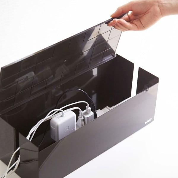 Czarny pojemnik na ładowarki Yamazaki Web Cable Box